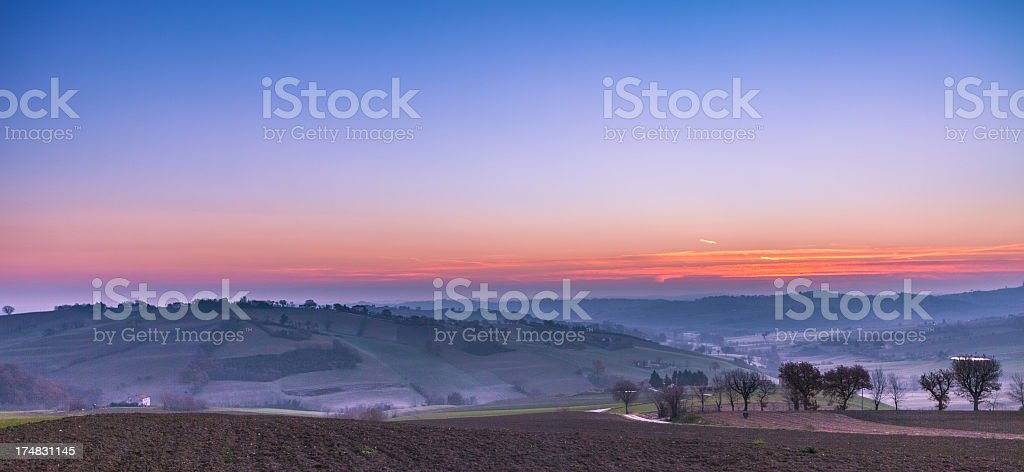 Sunrise over the tuscan hills royalty-free stock photo