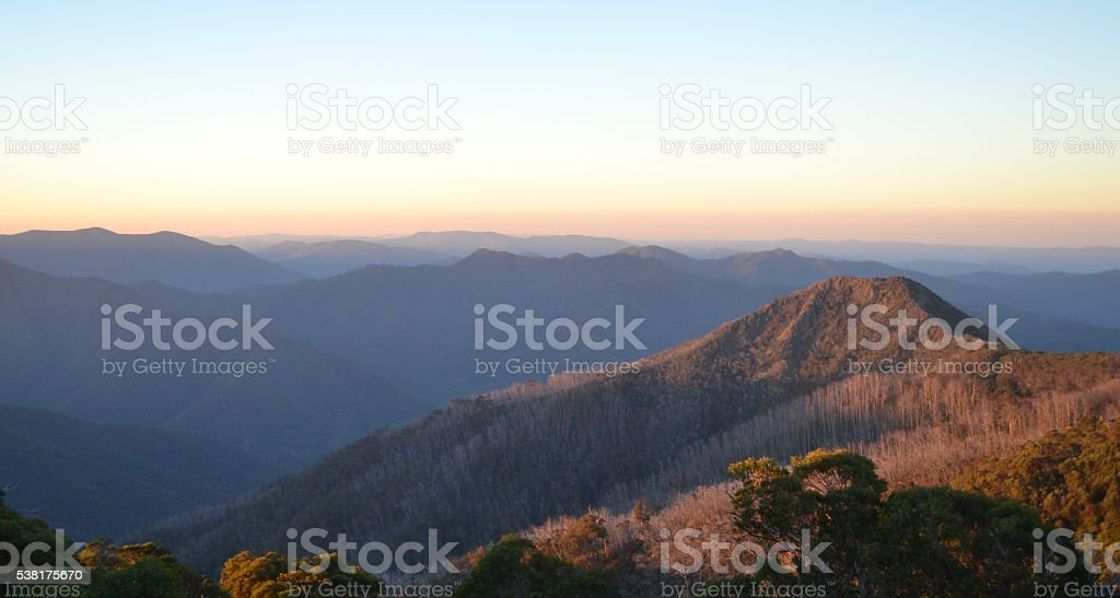 Sunrise over the Victorian Alps from Mount Buller stock photo