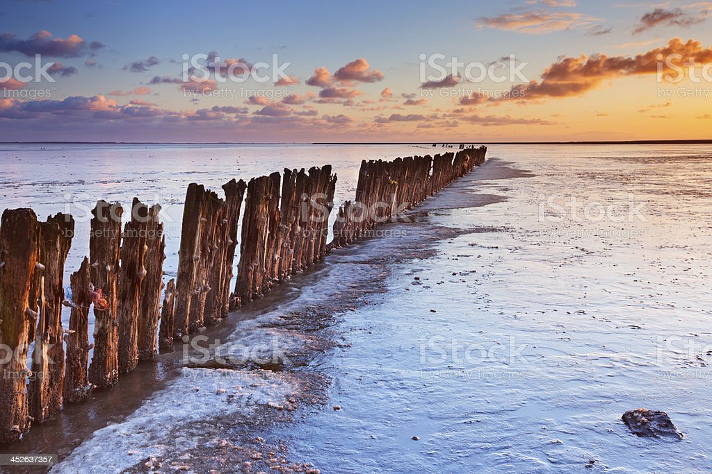 Sunrise over the Wadden Sea, Friesland, The Netherlands, low tide stock photo