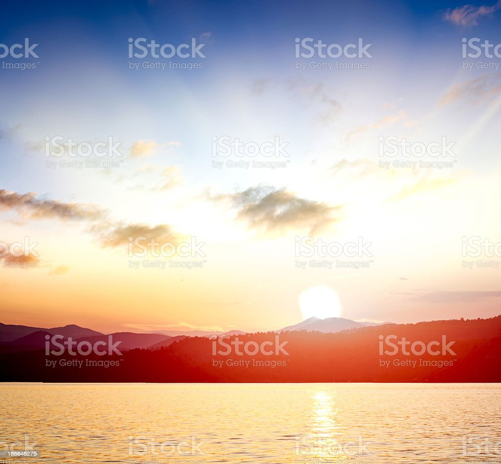 sunrise over the water royalty-free stock photo