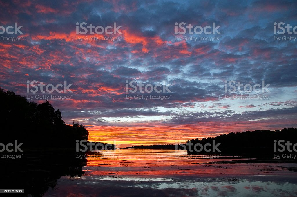 Sunrise Over the Water stock photo