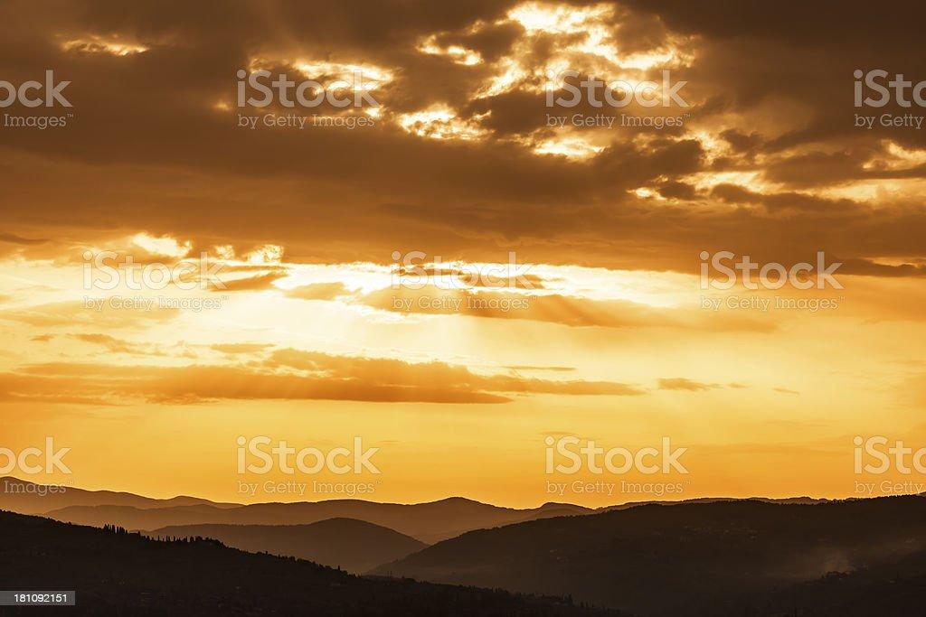 Sunrise over Tuscany, Italy stock photo