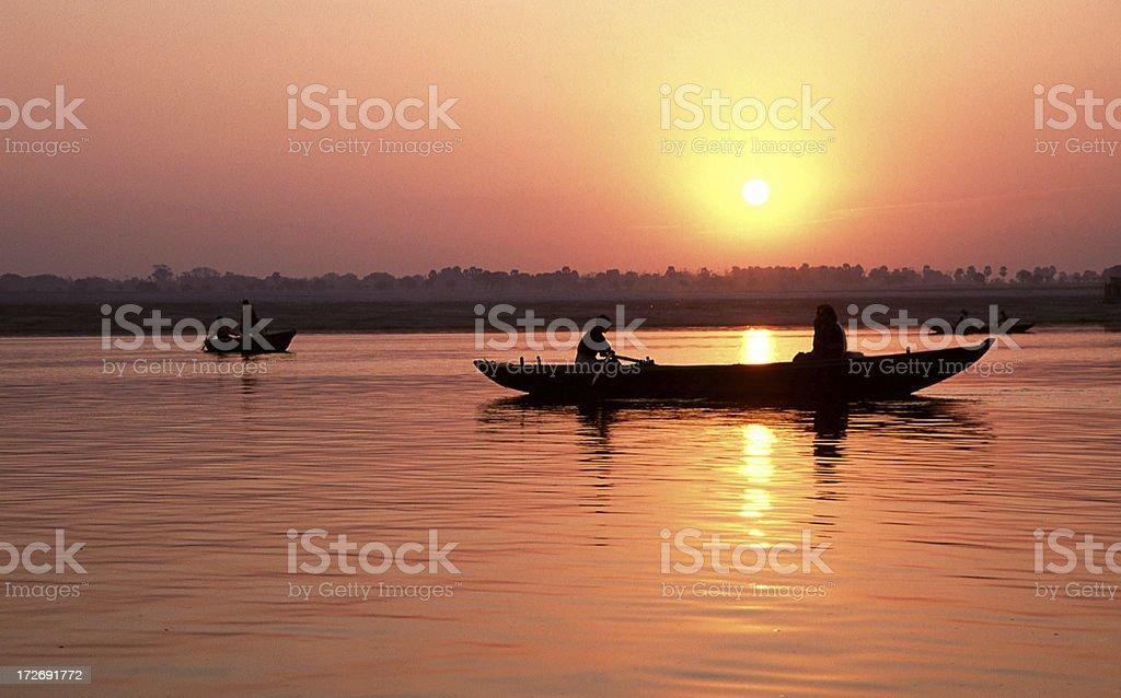 Sunrise over Varanasi, India royalty-free stock photo