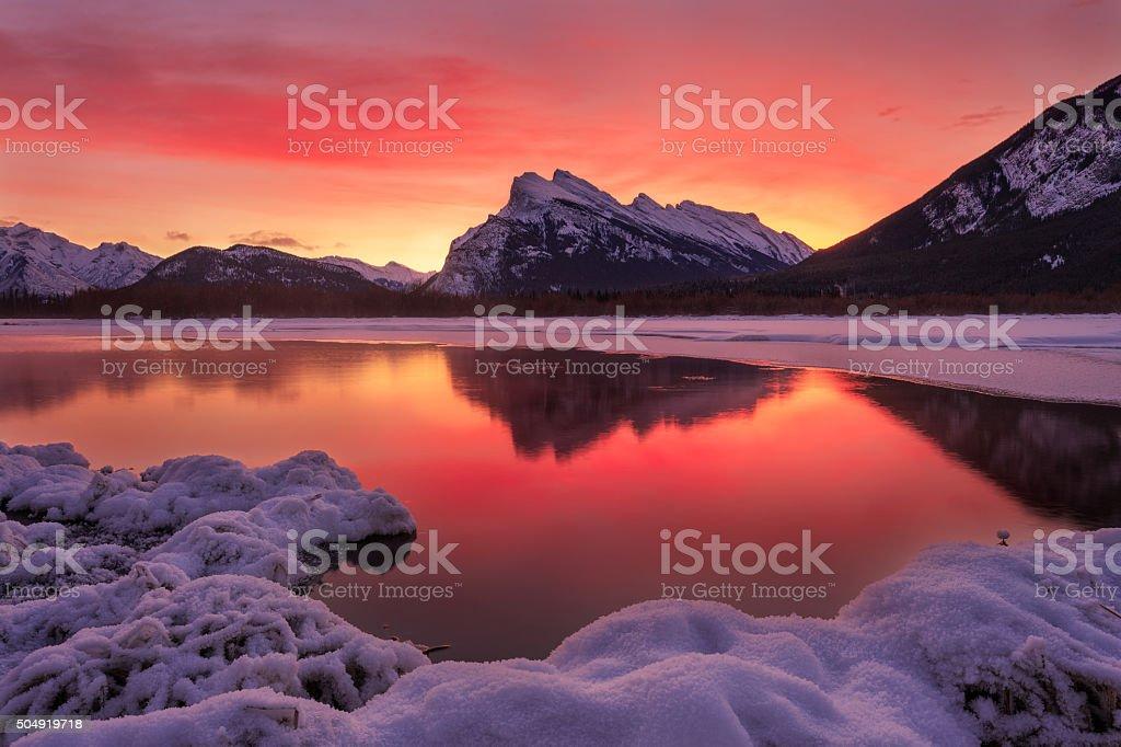 Sunrise over Vermillion Lake stock photo