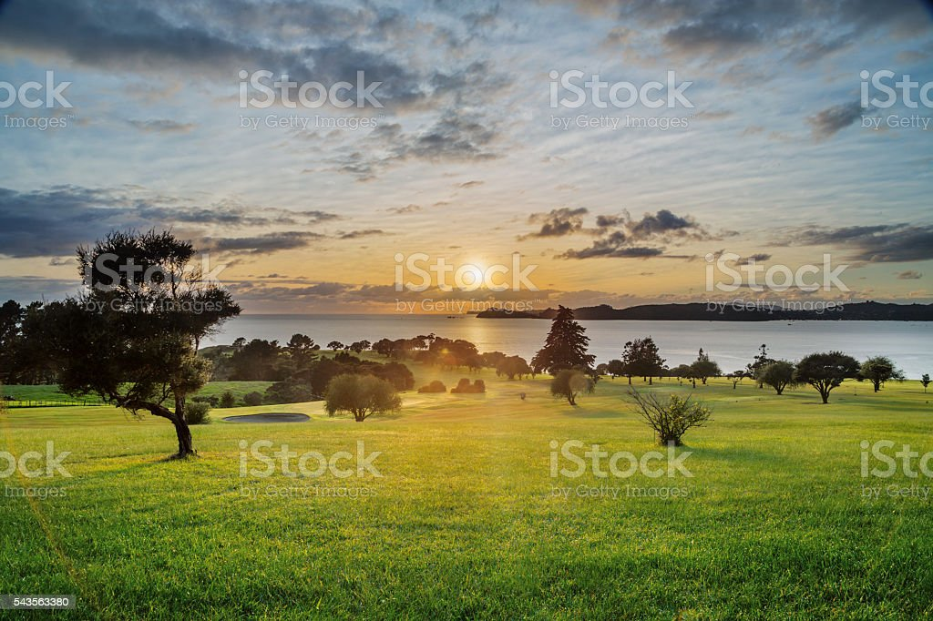 Sunrise over Waitangi Treaty Grounds, New Zealand stock photo