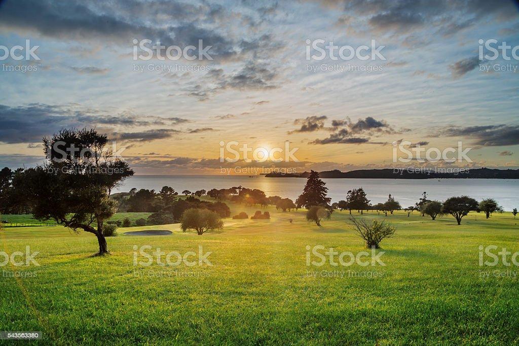 Sunrise over Waitangi Treaty Grounds, New Zealand stock photo
