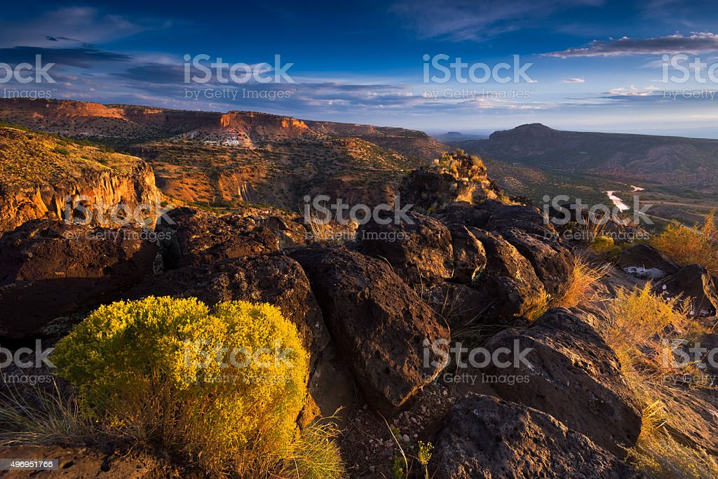 Sunrise Over White Rock Canyon and the Rio Grande River stock photo