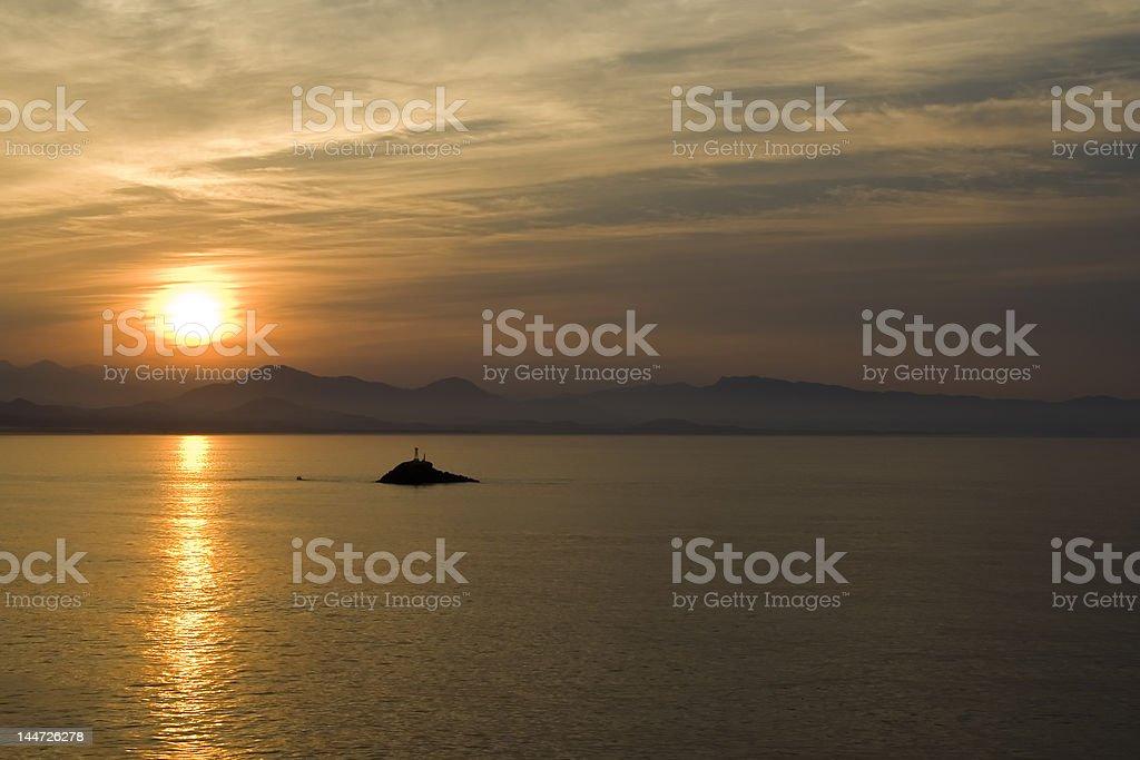 Sunrise over Zihuatanejo Island stock photo