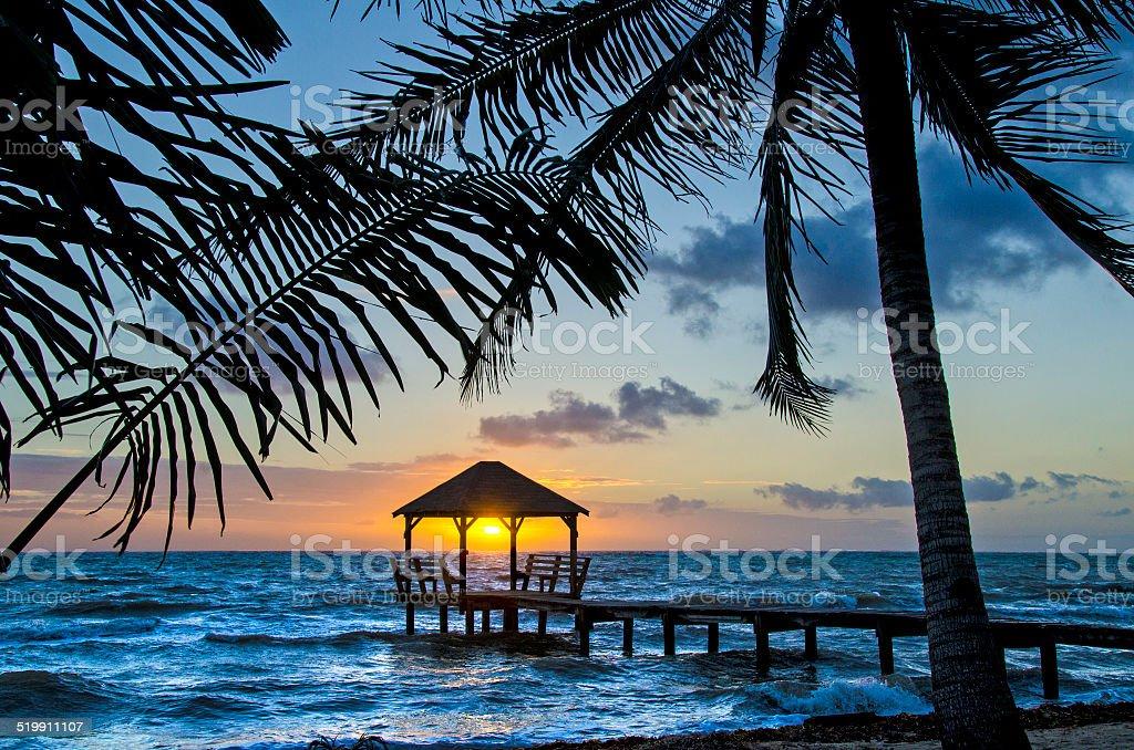 Sunrise Palapa stock photo