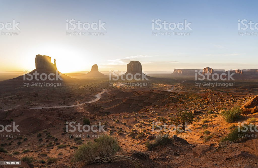 Sunrise Panorama of Monument Valley in Arizona, USA royalty-free stock photo