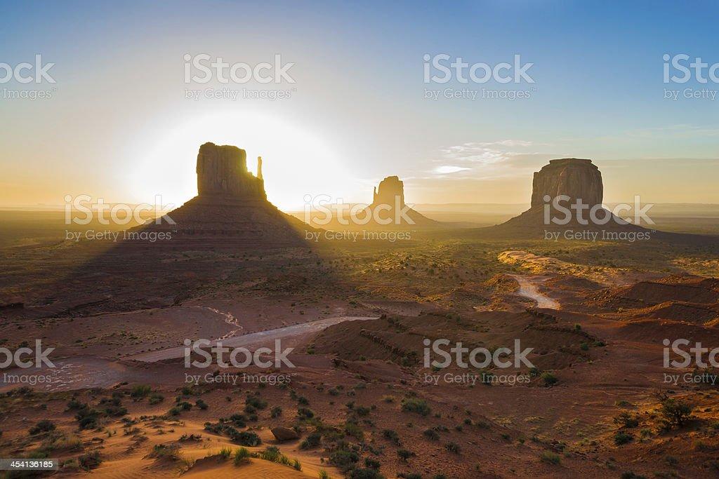 Sunrise Panorama of Monument Valley in Arizona, USA royalty-free stock photo