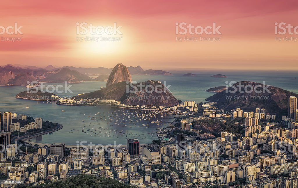 Sunrise panorama over Rio de Janeiro, Brazil stock photo