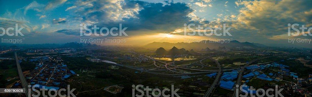Sunrise photo taken in Guilin city, China stock photo