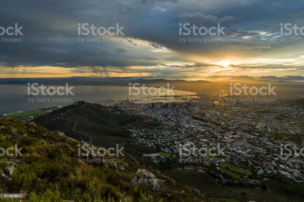 Sunrise Rain at signal hill stock photo
