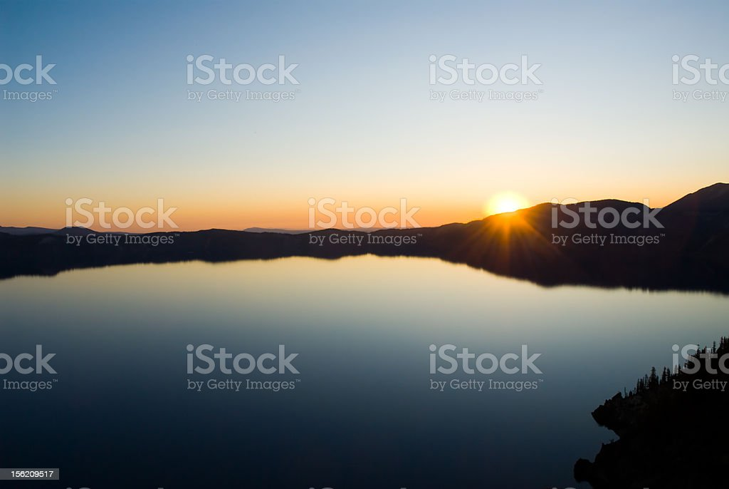 Sunrise Reflection Over Crater Lake National Park royalty-free stock photo
