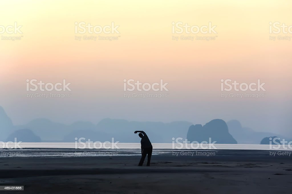 Sunrise relaxation at the beach royalty-free stock photo