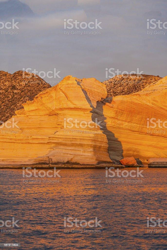 Sunrise, sandstone cliffs, Punta Colorado, Baja California, Mexico stock photo