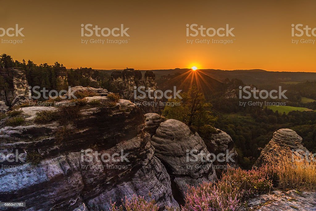 sunrise, saxon switzerland, Bastion stock photo