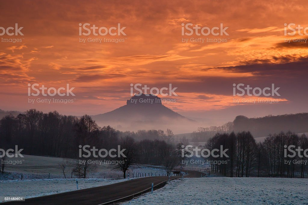 sunrise saxonia switzerland Lilienstein Mountain stock photo