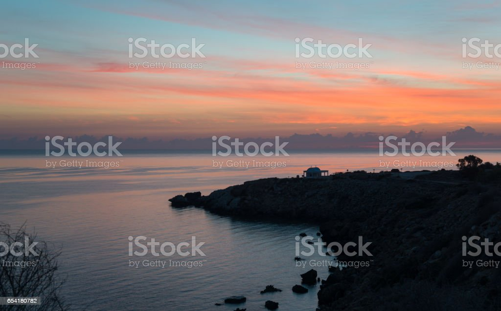 Sunrise scene at Cape Greco stock photo
