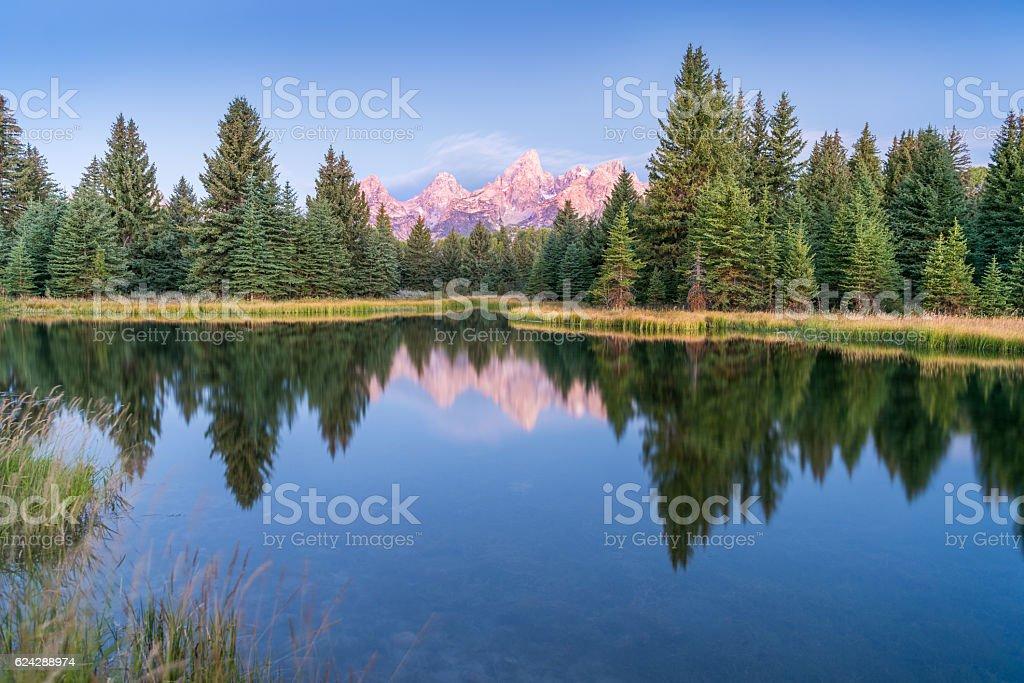 Sunrise, Schwabacher's Landing, Grand Teton National Park stock photo