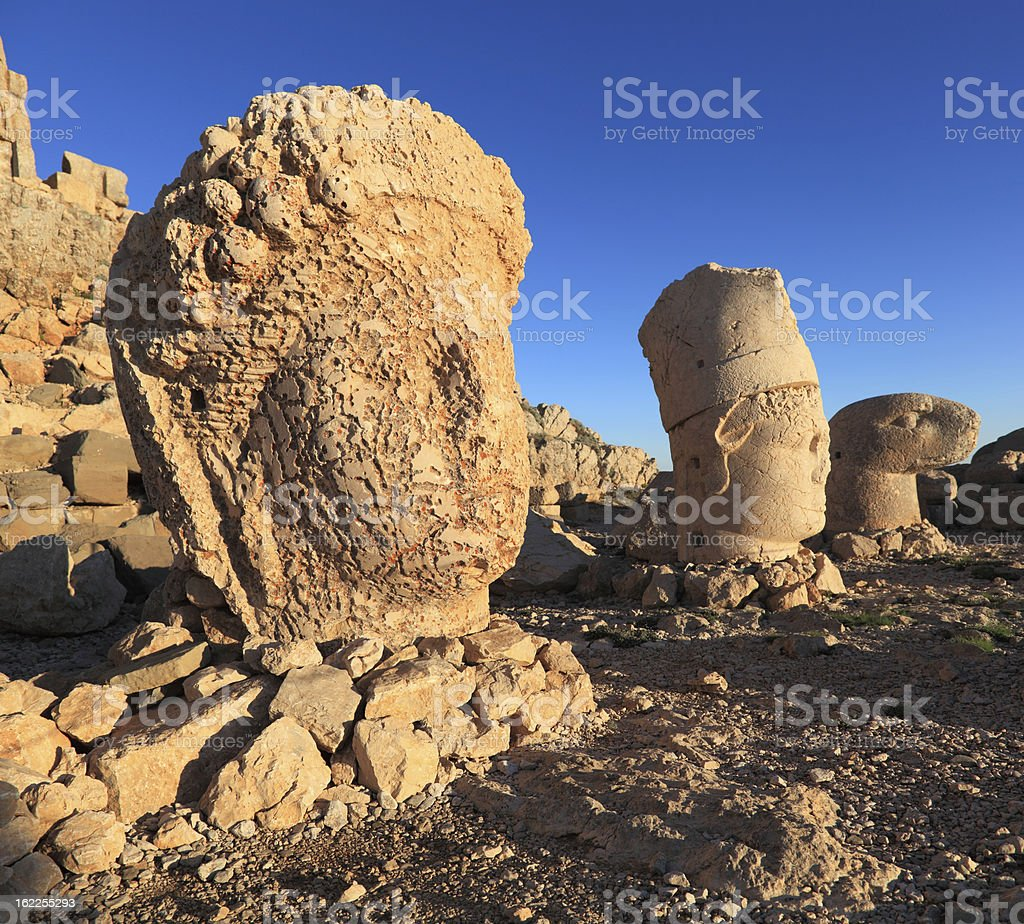 Sunrise; Sculptures of the Commagene Kingdom, Nemrut Dagi stock photo