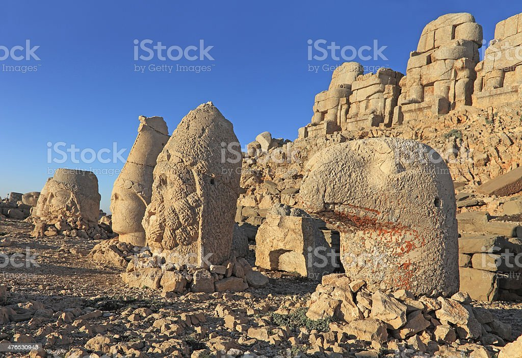 Sunrise; Sculptures of the Commagene Kingdom, Nemrut Dagi stock photo