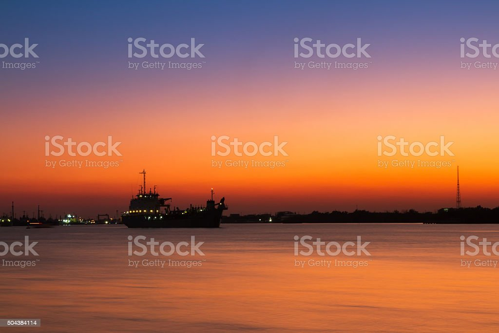 Sunrise Seascape with  Ocean liner boat on the Sea stock photo