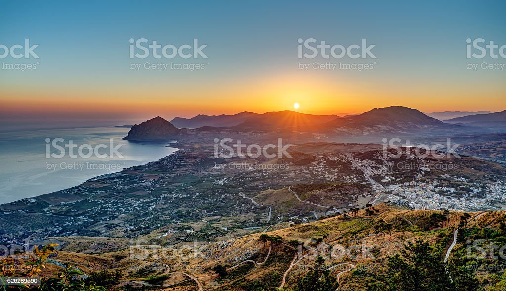 Sunrise seen from Erice in Sicily stock photo