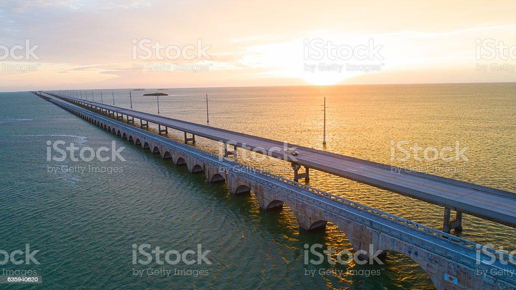 Sunrise Seven Mile Bridge Florida Keys stock photo