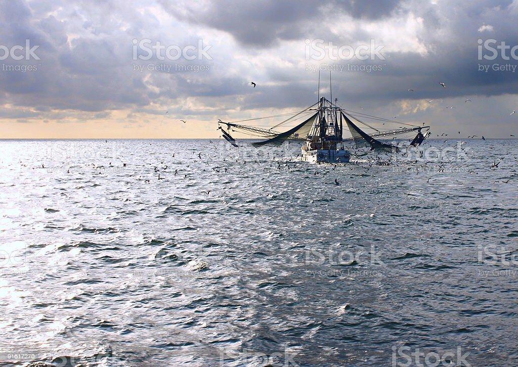 Sunrise Shrimp Boat stock photo