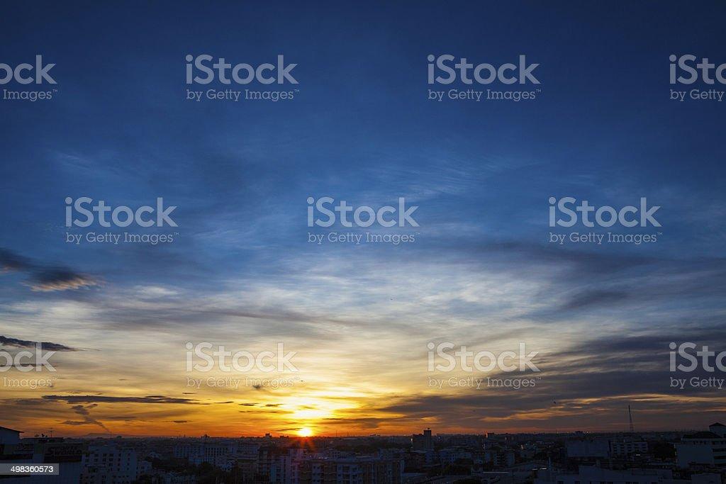 Sunrise sky in Bangkok Thailand stock photo