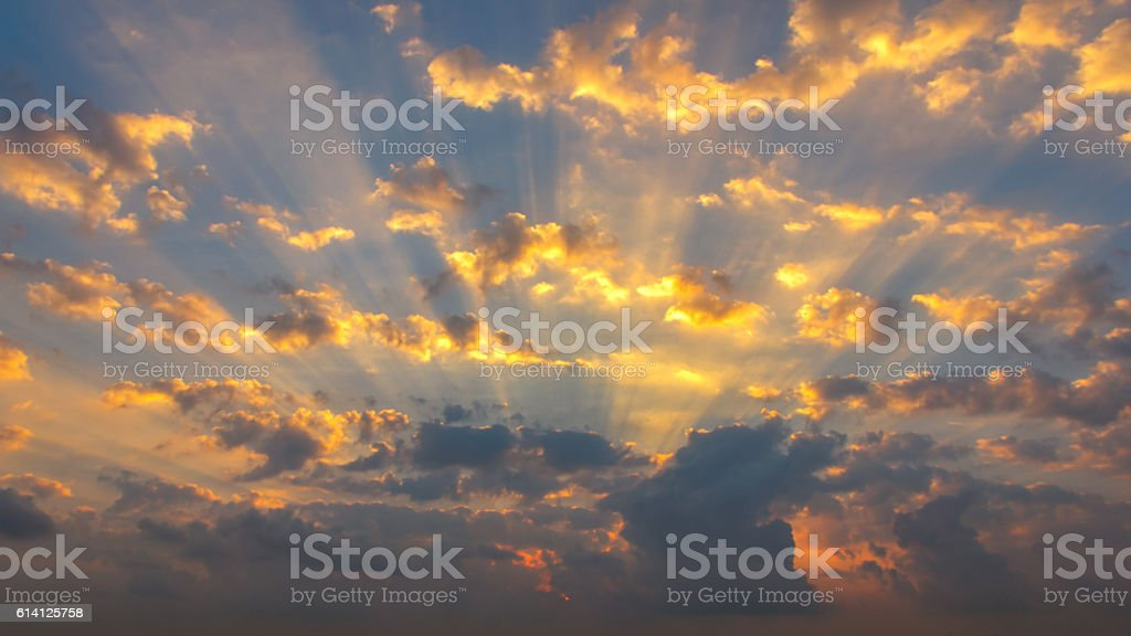 Sunrise sky panorama and dramatic clouds stock photo