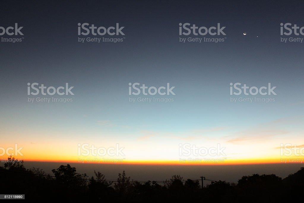 Sunrise sky stratosphere background stock photo