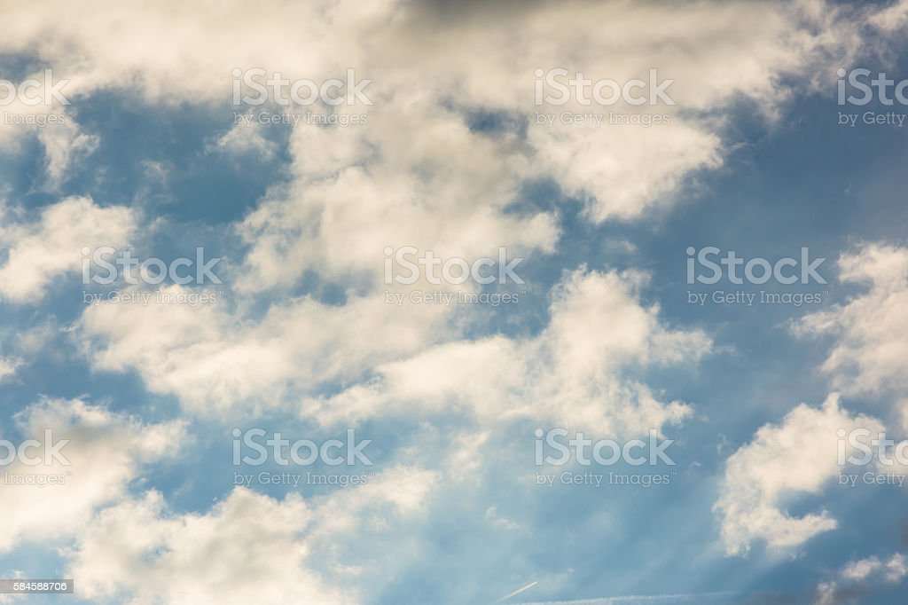 Sunrise Soft Yellow Wispy Cirrus Clouds stock photo
