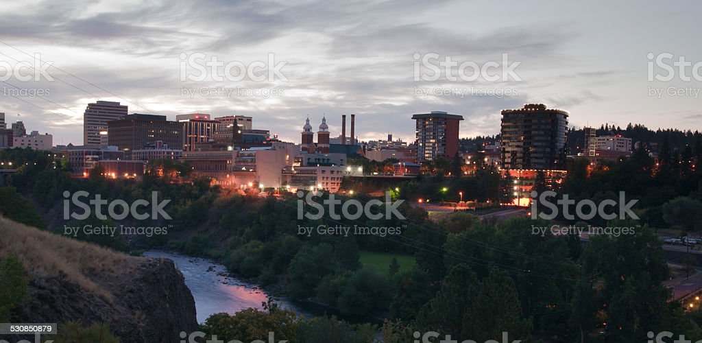 Sunrise Spokane Downtown Skyline River Valley Financial Center stock photo