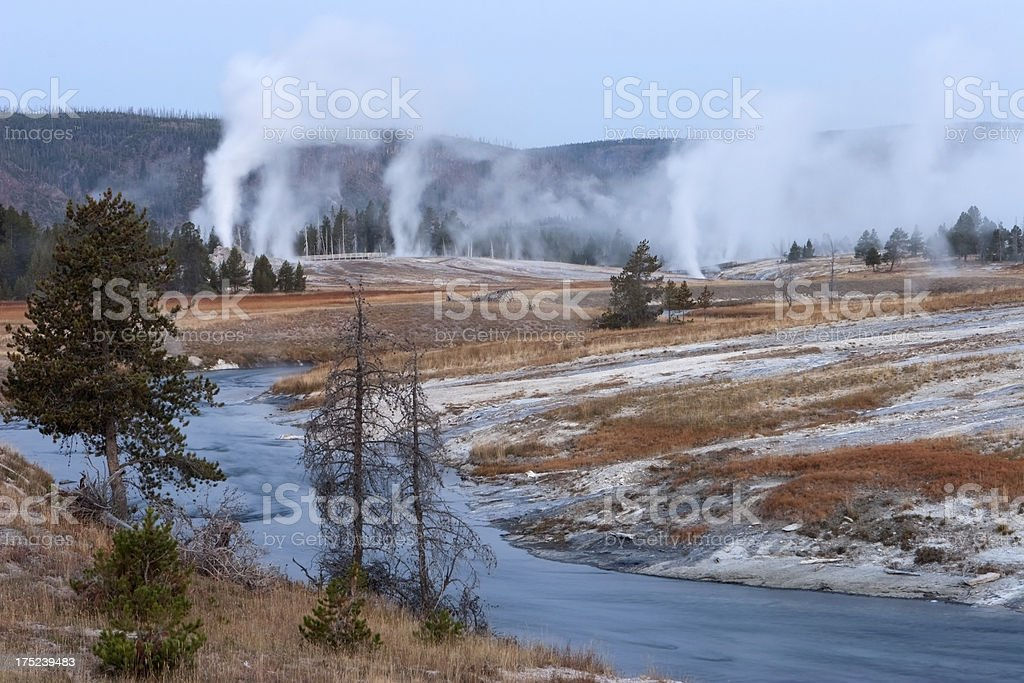 Sunrise steam over river and Geyser Basin Yellowstone royalty-free stock photo