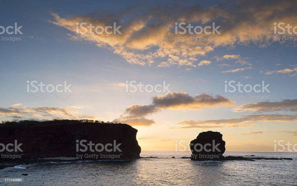 Sunrise, Sweetheart Rock, Lanai, Hawaii stock photo