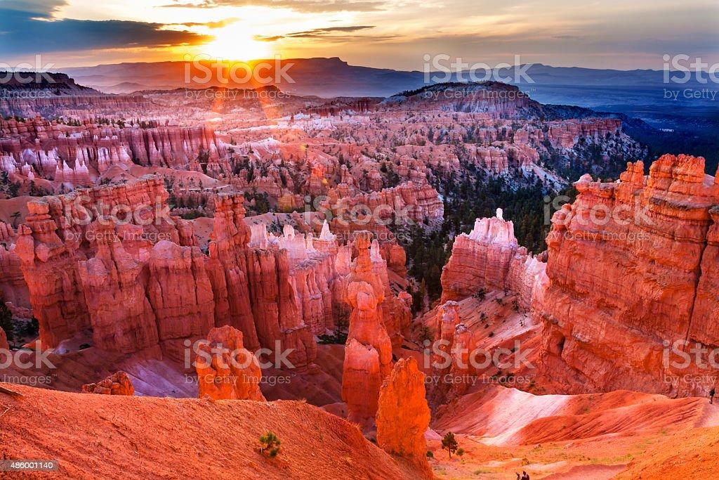 Sunrise Thor's Hammer Hoodoos Bryce Canyon National Park Utah stock photo