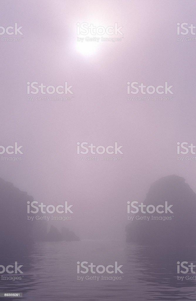 Sunrise through Morning Fog stock photo