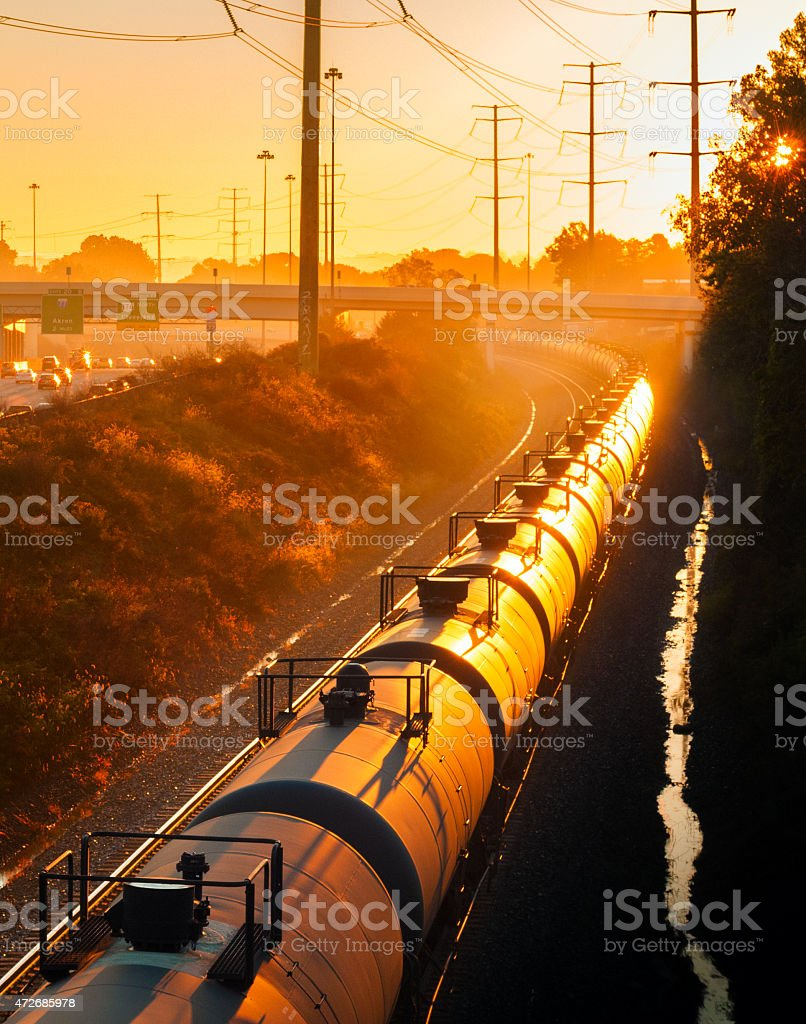 Sunrise train stock photo