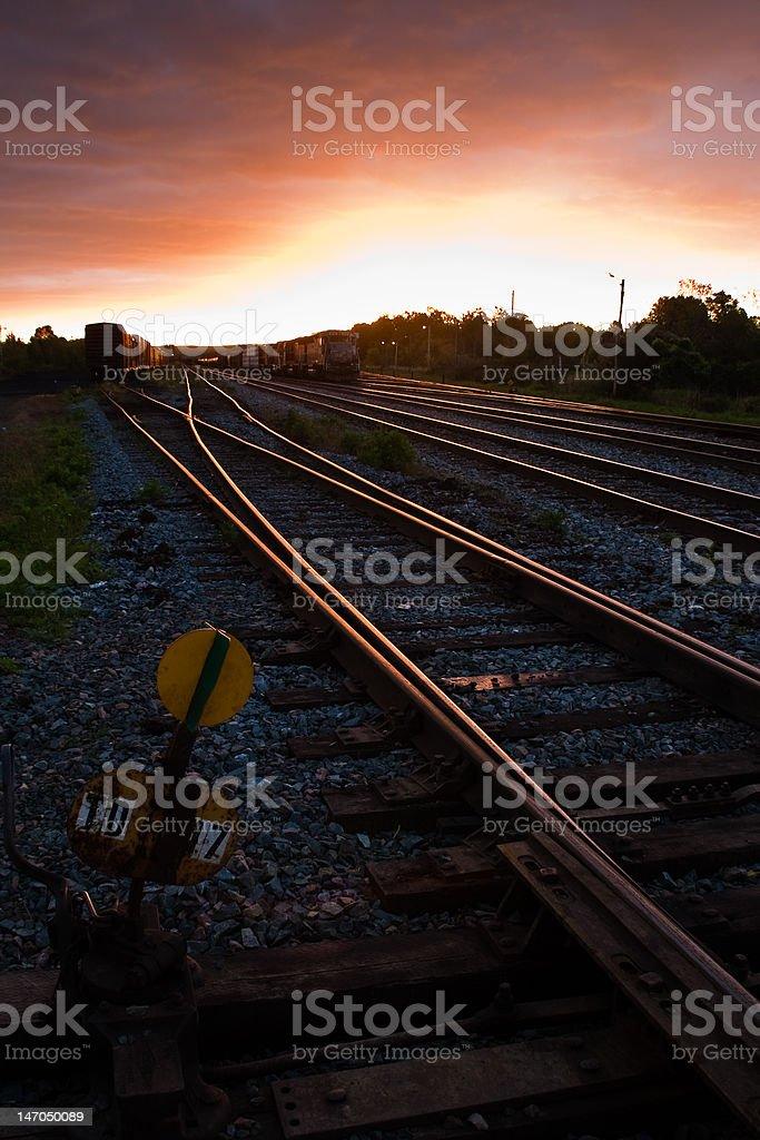 Sunrise Trains stock photo