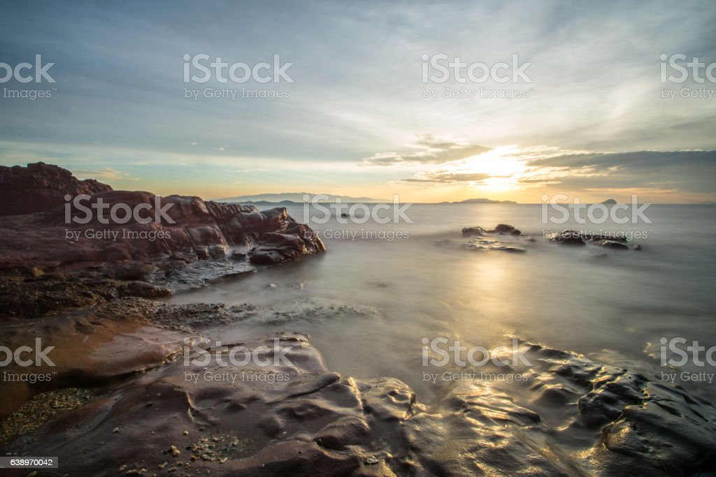 sunrise twilight with stone at  Kung-krabaen beach , Chantaburi in Thailand stock photo