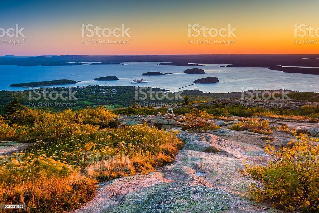 Sunrise view from Caddilac Mountain in Acadia National Park, Mai stock photo