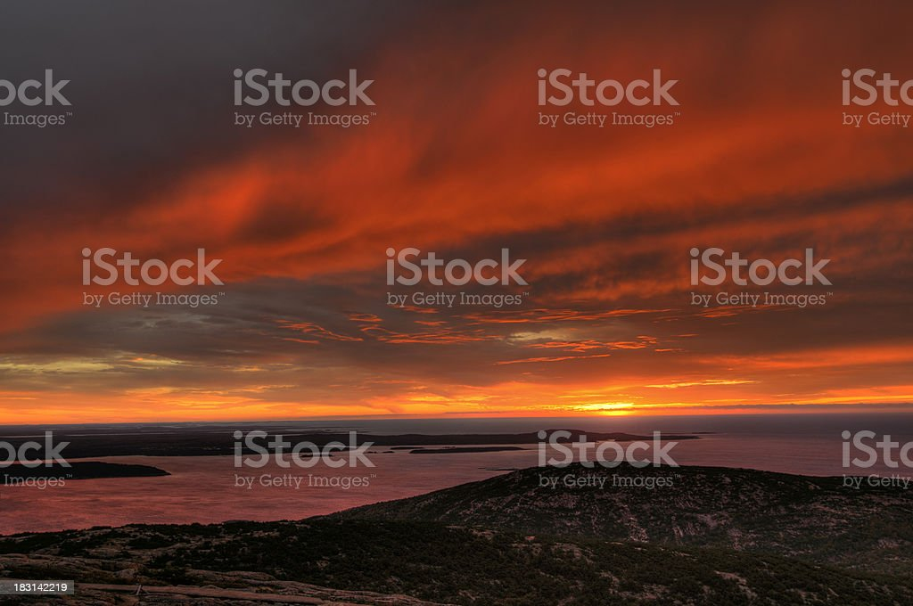 Sunrise view from Cadillac Mountain, Acadia National Park, Maine stock photo