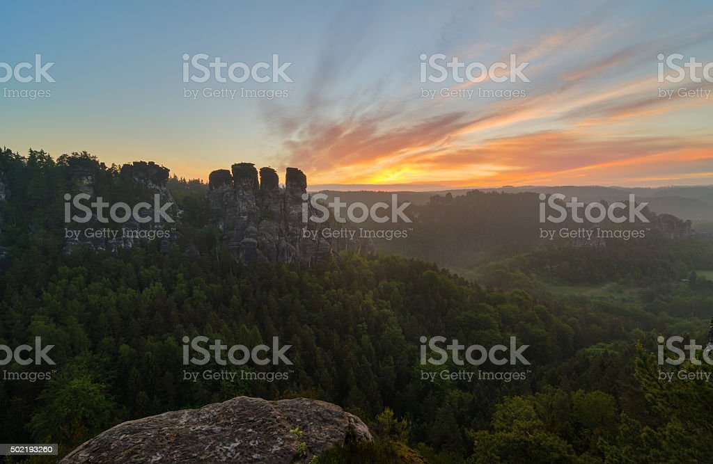 Sunrise view from the Basteibrücke. stock photo