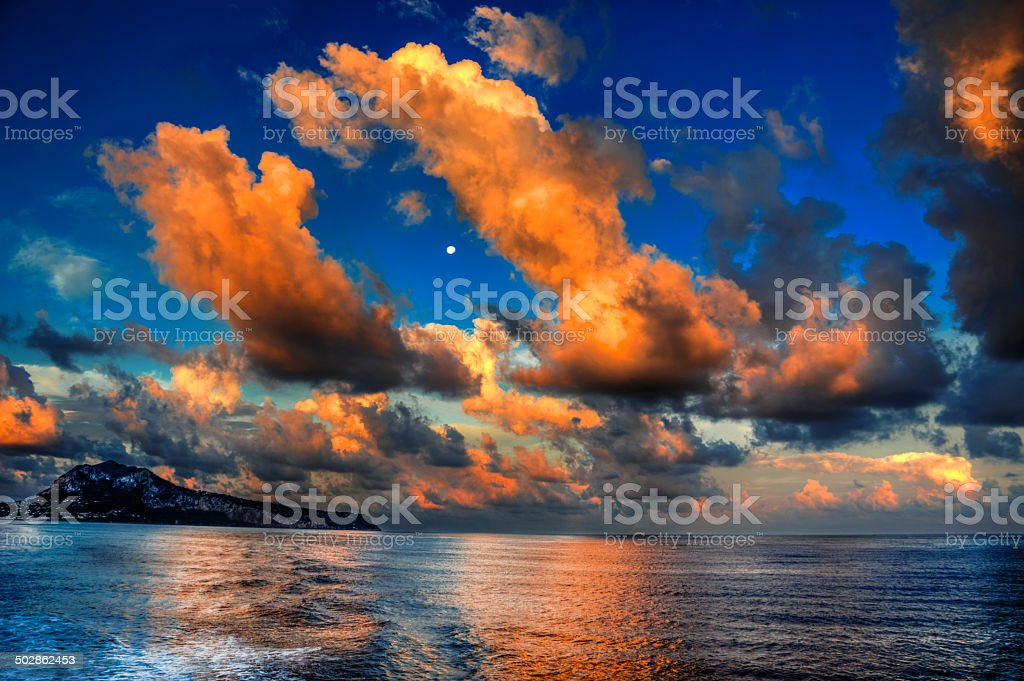Sunrise  view of Capri stock photo