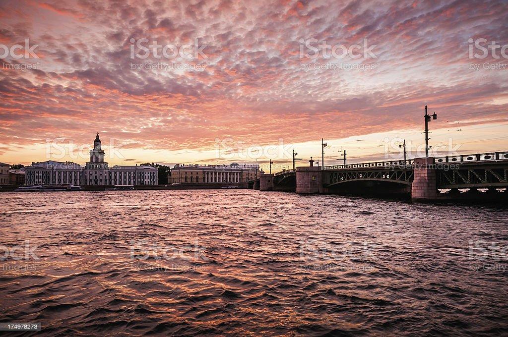 Sunrise View of Palace Bridge St Petersburg, Russia stock photo