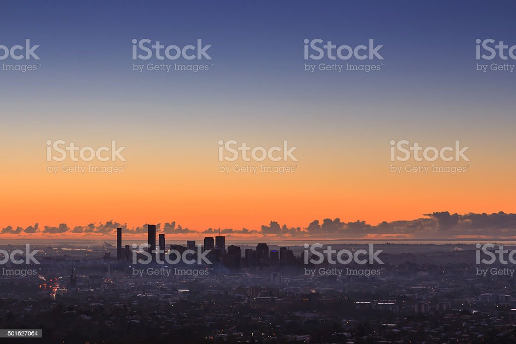 Sunrise View of the Brisbane City from Mount Coot-tha. Australia. stock photo