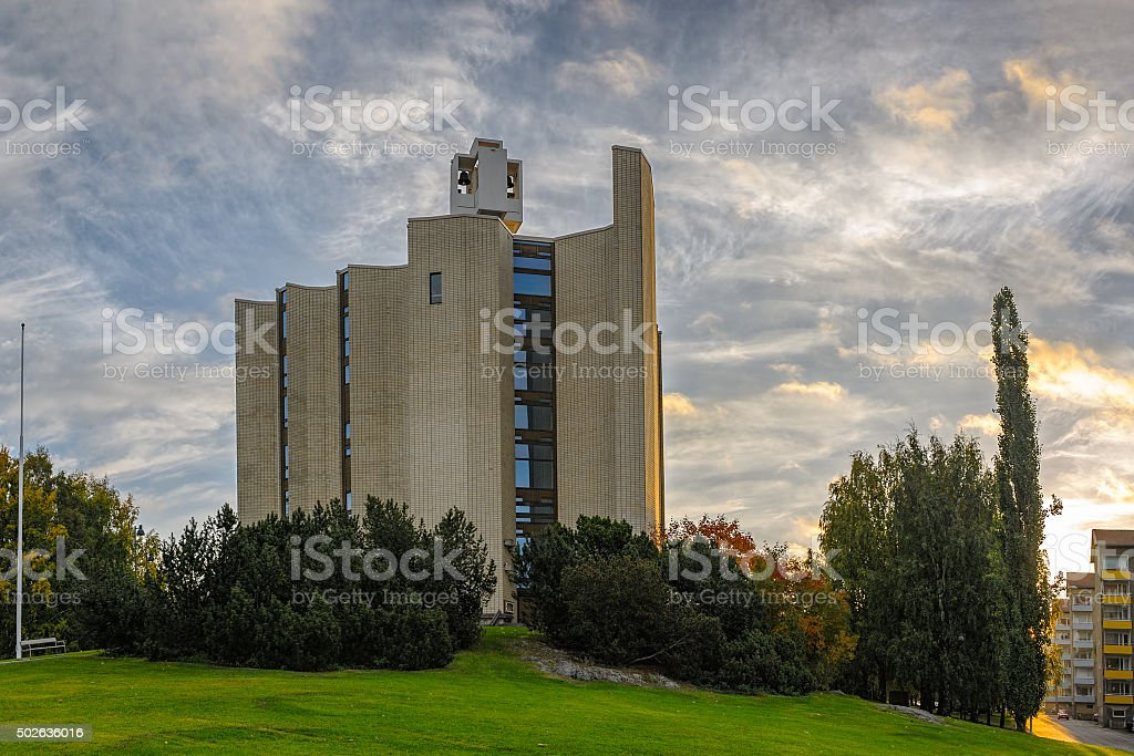 Sunrise view to Kaleva Church in Tampere, Finland stock photo